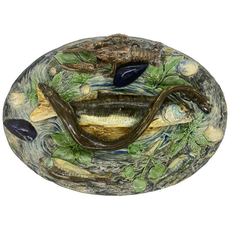 Large Palissy Ware Majolica Platter by Alfred Renoleau, French, circa 1885 For Sale
