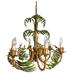 Large Palm Leaf and Faux Bamboo Tole Chandelier, 1960s