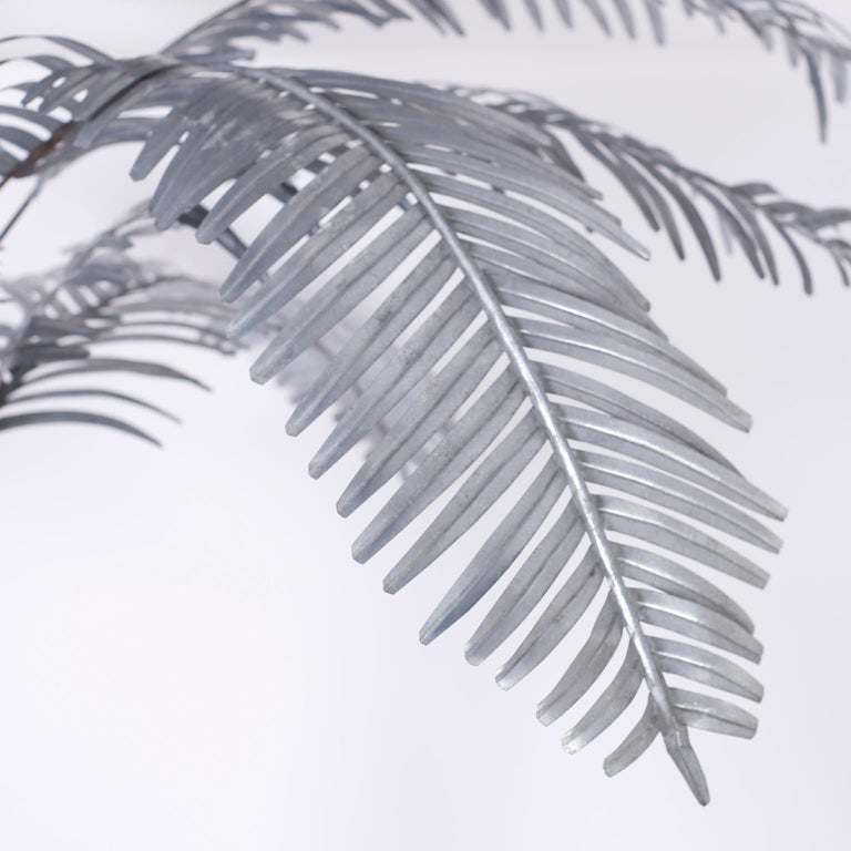 Galvanized Large Palm Tree Sculpture For Sale