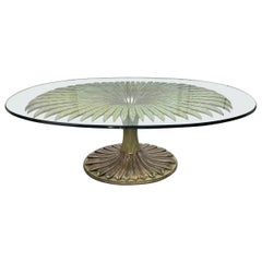 Large Palm Tree Style Oval Glass Top Dining Table