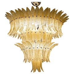 Large Palmette Amber Gold Murano Chandelier, Four Tiers in Barovier Style, 1990s