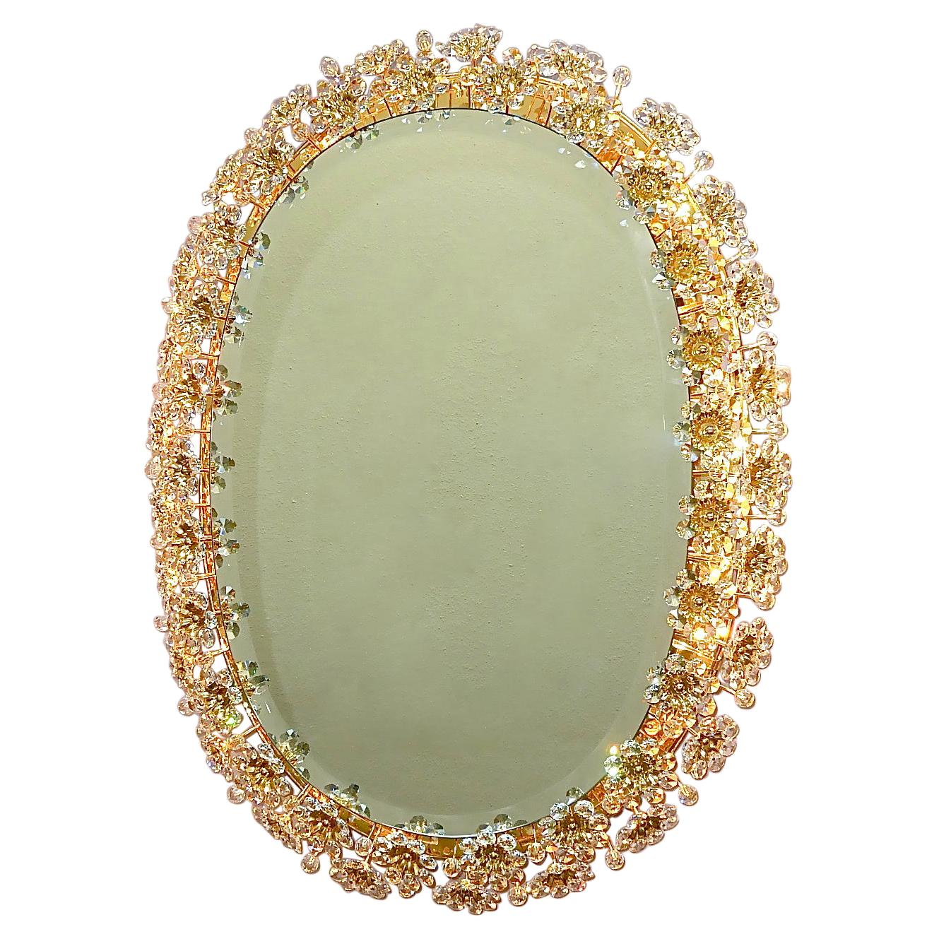 Large Palwa Backlit Mirror Oval Gilt Faceted Crystal Glass Flower Bouquet 1970s