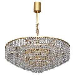 Large Palwa Cascading Chandelier Gilt Brass Faceted Crystal Glass Germany, 1960s
