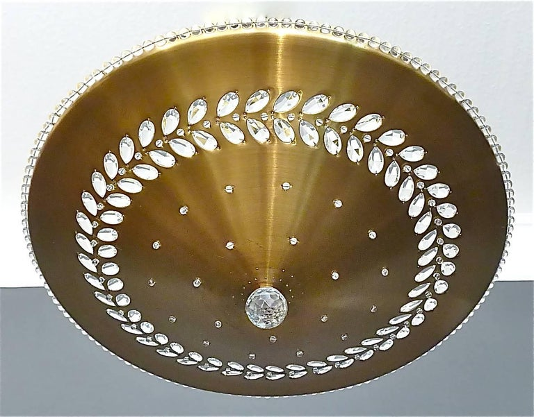 Large Palwa Flush Mount Brass Glass Pearls Beads Paavo Tynell Kalmar Style 1950s For Sale 3