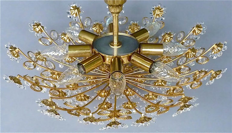 Large Palwa Flush Mount Chandelier Gilt Brass Flower Bouquet Crystal Glass 1960s For Sale 3