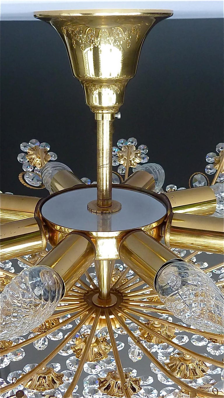 Large Palwa Flush Mount Chandelier Gilt Brass Flower Bouquet Crystal Glass 1960s For Sale 4