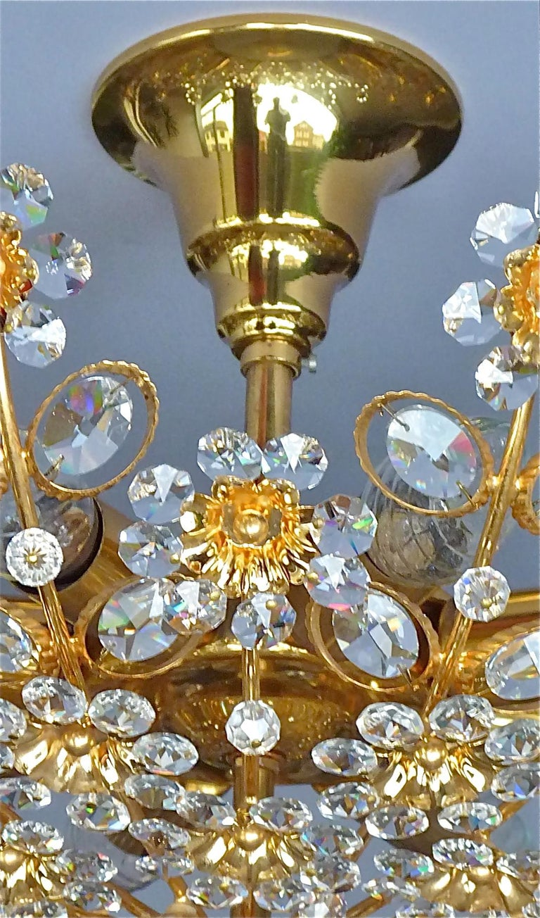 Large Palwa Flushmount Chandelier Gilt Brass Flower Bouquet Crystal Glass, 1960s For Sale 5