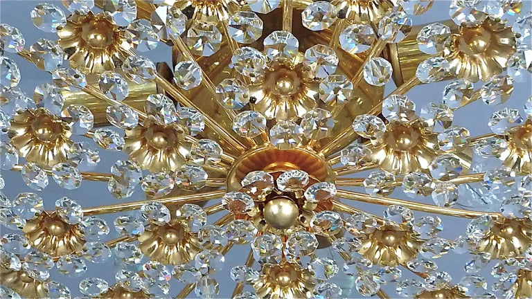 Large Palwa Flush Mount Chandelier Gilt Brass Flower Bouquet Crystal Glass 1960s For Sale 7