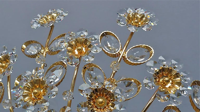 Large Palwa Flush Mount Chandelier Gilt Brass Flower Bouquet Crystal Glass 1960s For Sale 8
