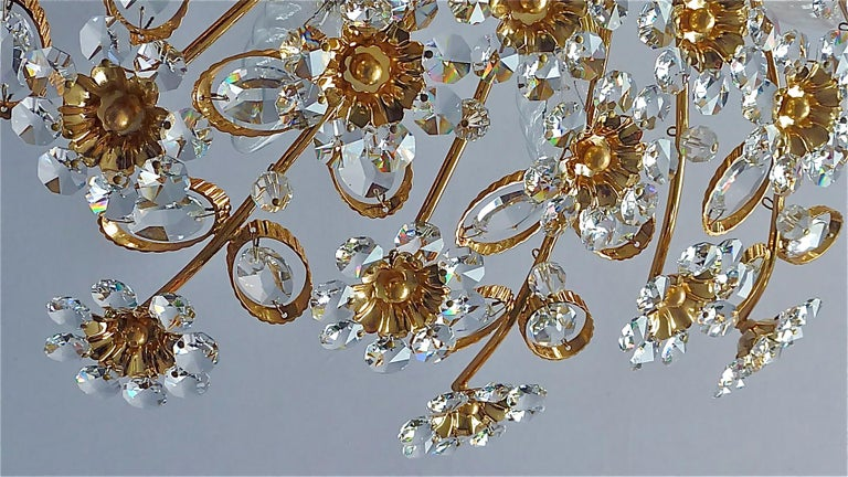 Large Palwa Flush Mount Chandelier Gilt Brass Flower Bouquet Crystal Glass 1960s For Sale 9