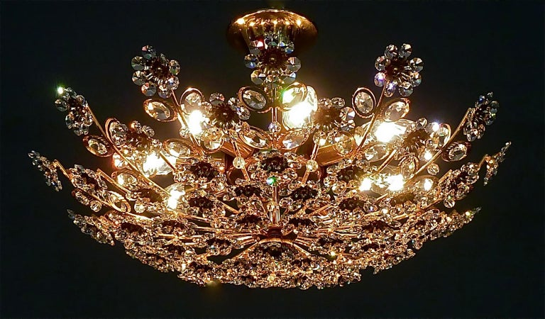 Large Palwa Flush Mount Chandelier Gilt Brass Flower Bouquet Crystal Glass 1960s For Sale 12