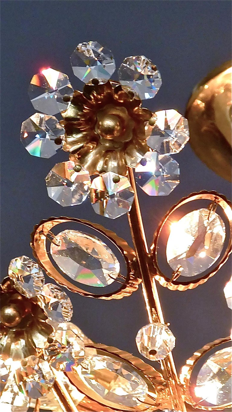 Large Palwa Flush Mount Chandelier Gilt Brass Flower Bouquet Crystal Glass 1960s For Sale 13