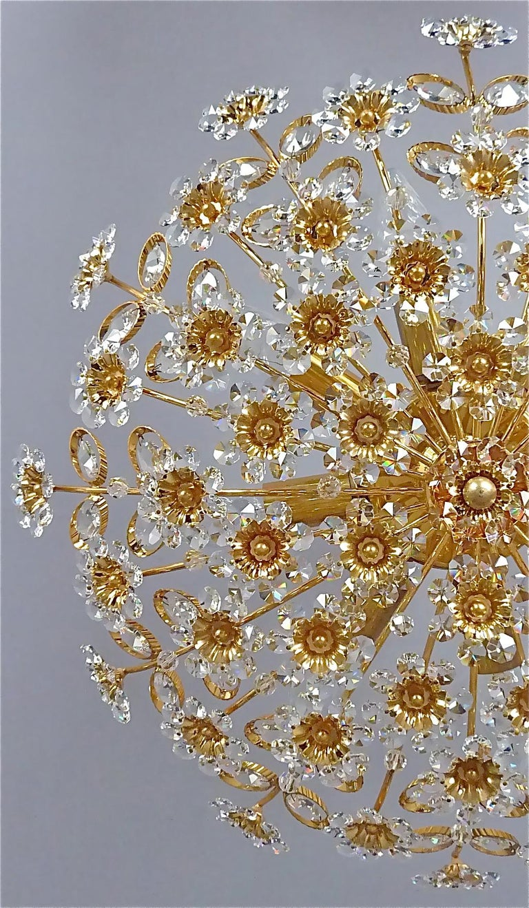 Mid-Century Modern Large Palwa Flushmount Chandelier Gilt Brass Flower Bouquet Crystal Glass, 1960s For Sale