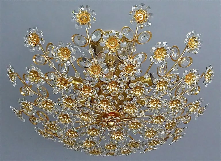 Faceted Large Palwa Flush Mount Chandelier Gilt Brass Flower Bouquet Crystal Glass 1960s For Sale