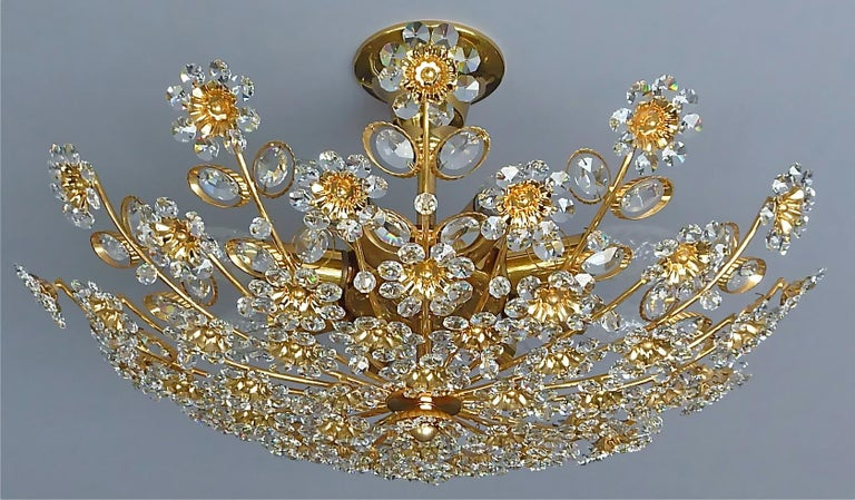 Mid-20th Century Large Palwa Flush Mount Chandelier Gilt Brass Flower Bouquet Crystal Glass 1960s For Sale