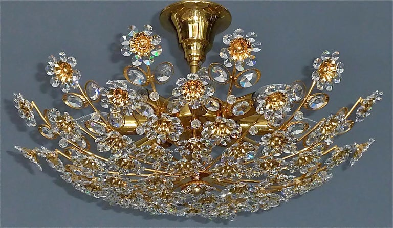 Large Palwa Flush Mount Chandelier Gilt Brass Flower Bouquet Crystal Glass 1960s For Sale 1