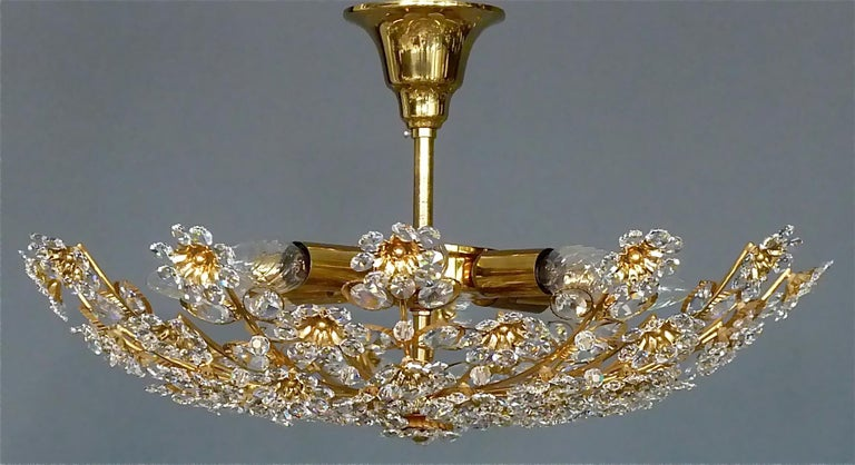 Large Palwa Flush Mount Chandelier Gilt Brass Flower Bouquet Crystal Glass 1960s For Sale 2