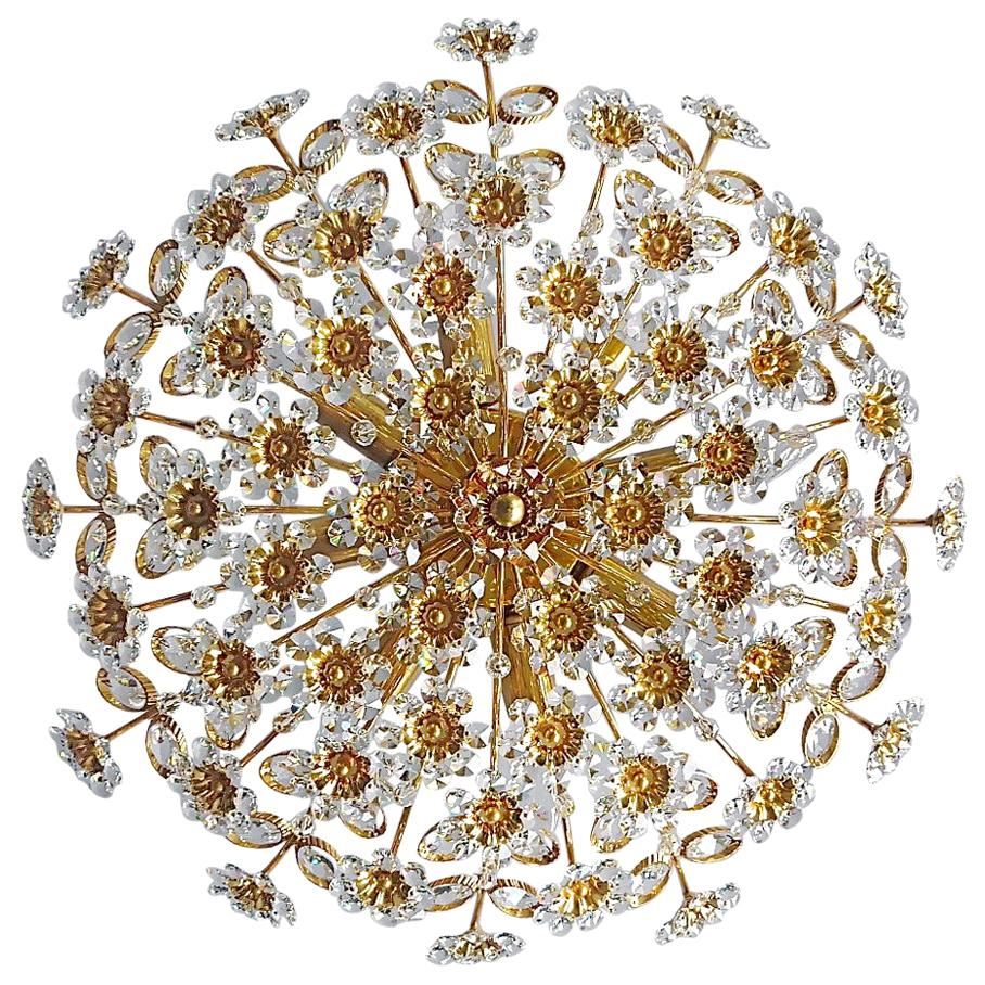Large Palwa Flush Mount Chandelier Gilt Brass Flower Bouquet Crystal Glass 1960s