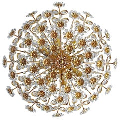 Large Palwa Flush Mount Chandelier Gilt Brass Flower Bouquet Crystal Glass 1960s