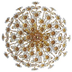 Large Palwa Flushmount Chandelier Gilt Brass Flower Bouquet Crystal Glass, 1960s