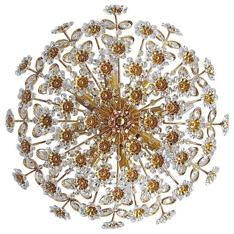 Large Palwa Flushmount Chandelier Gilt Brass Flower Bouquet Crystal Glass, 1960s For Sale