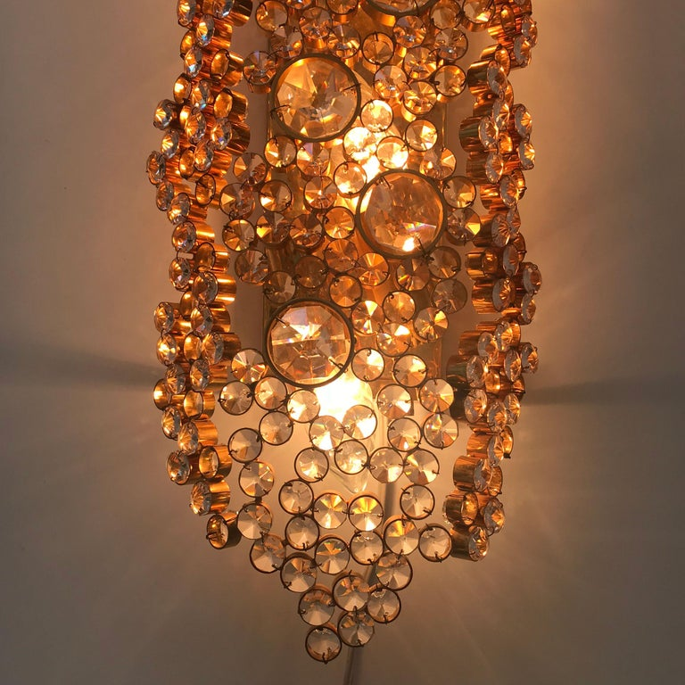 Large Palwa Gilt Brass Facet Cut Crystal Glass Wall Lamp Sconce, 1970s, Germany For Sale 4