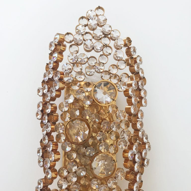Large Palwa Gilt Brass Facet Cut Crystal Glass Wall Lamp Sconce, 1970s, Germany In Excellent Condition For Sale In Munich, DE