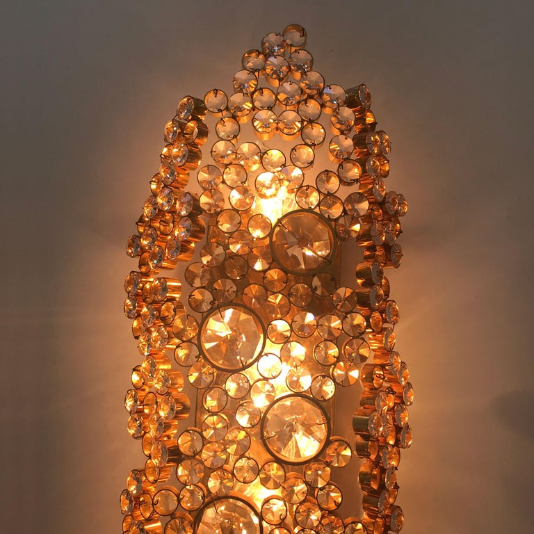 Late 20th Century Large Palwa Gilt Brass Facet Cut Crystal Glass Wall Lamp Sconce, 1970s, Germany For Sale