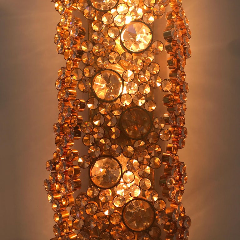 Large Palwa Gilt Brass Facet Cut Crystal Glass Wall Lamp Sconce, 1970s, Germany For Sale 2
