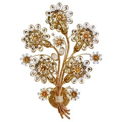 Large Palwa Midcentury Flower Crystal and Gilt Brass Wall Light Sconce or Lamp