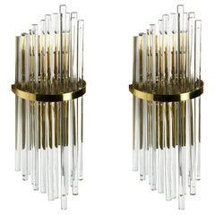 Large Palwa Sconces with Thick Swarovski Crystal Rods, 1980, Germany