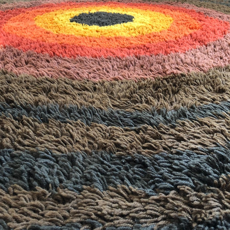 Large Panton Style Multi-Color High Pile Rya Rug by Desso, Netherlands, 1970s For Sale 3