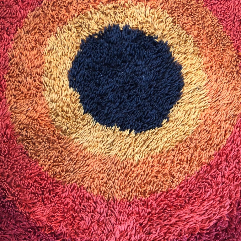 Large Panton Style Multi-Color High Pile Rya Rug by Desso, Netherlands, 1970s For Sale 5