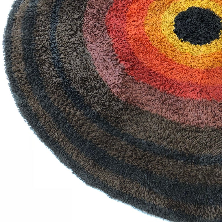Large Panton Style Multi-Color High Pile Rya Rug by Desso, Netherlands, 1970s For Sale 8