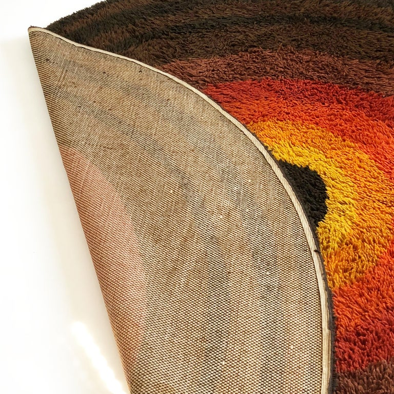 Large Panton Style Multi-Color High Pile Rya Rug by Desso, Netherlands, 1970s For Sale 13