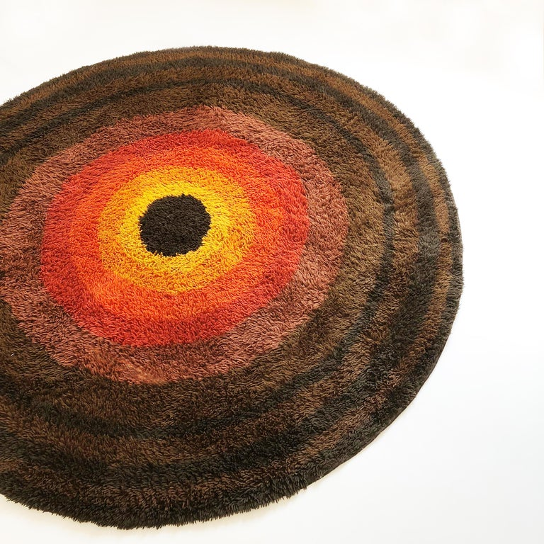 20th Century Large Panton Style Multi-Color High Pile Rya Rug by Desso, Netherlands, 1970s For Sale