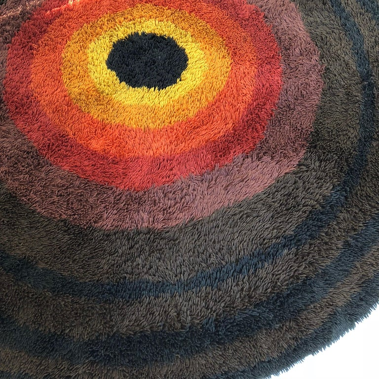 Wool Large Panton Style Multi-Color High Pile Rya Rug by Desso, Netherlands, 1970s For Sale