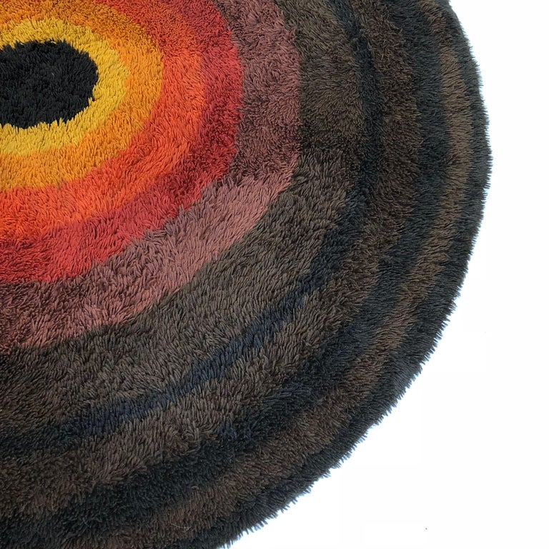 Large Panton Style Multi-Color High Pile Rya Rug by Desso, Netherlands, 1970s For Sale 1