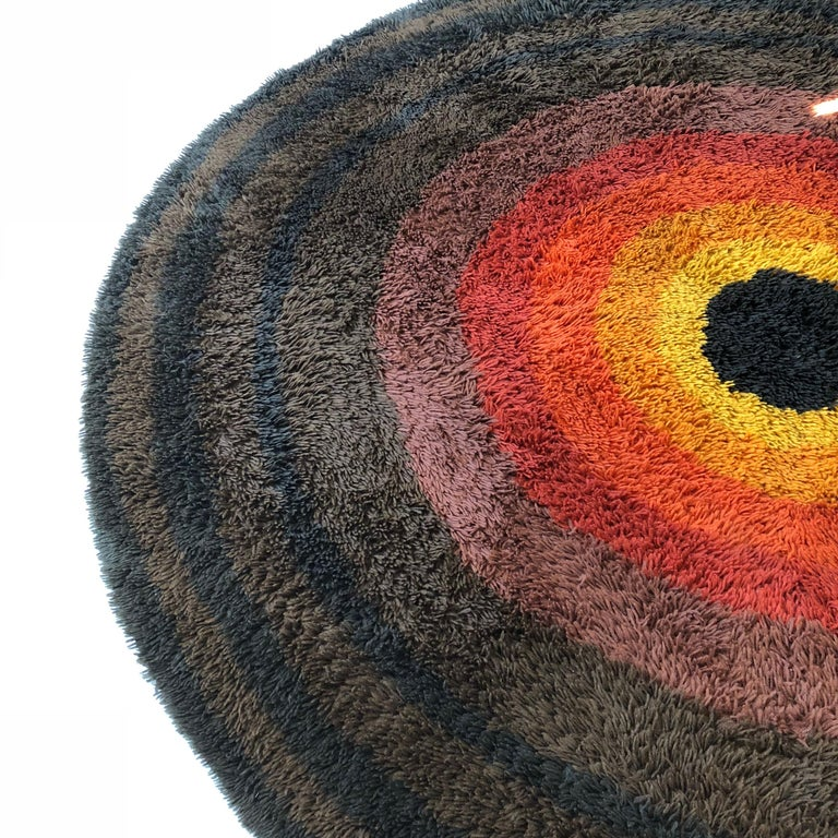 Large Panton Style Multi-Color High Pile Rya Rug by Desso, Netherlands, 1970s For Sale 2