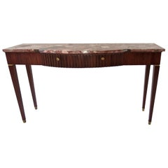 Large Paolo Buffa Red Marble Breccia, Brass, Rosewood Console Table, 1950