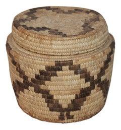 Large Papagao Indian Lidded Basket
