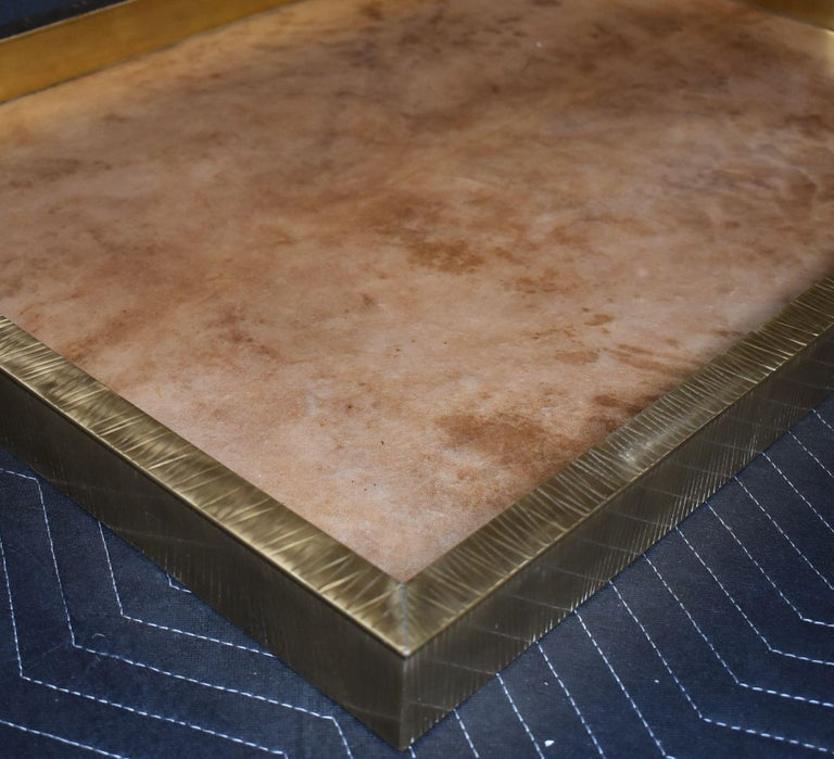 Contemporary Large Parchment and Brass Tray For Sale