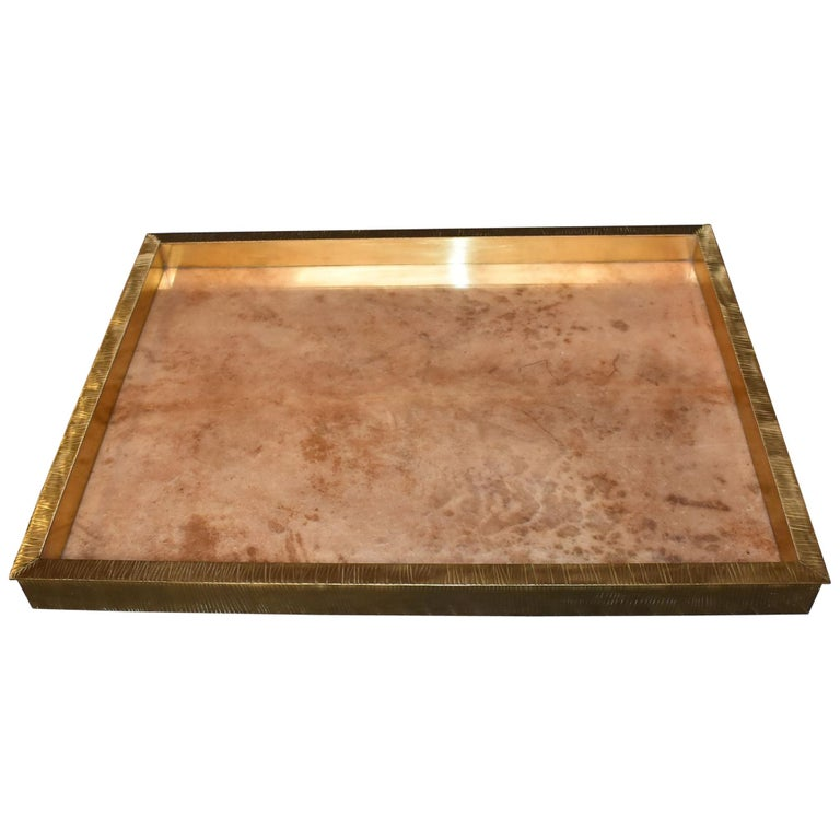 Large Parchment and Brass Tray For Sale