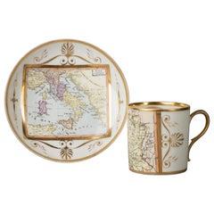 Large Paris Porcelain Map of Italy Cup and Saucer, circa 1810