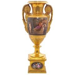 Large Paris Porcelain Vase, 19th Century