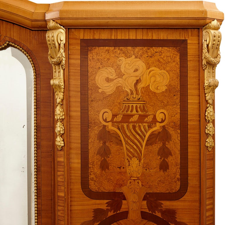 Neoclassical Large Parisian Wardrobe Adorned with Marquetry and Gilt Bronze For Sale
