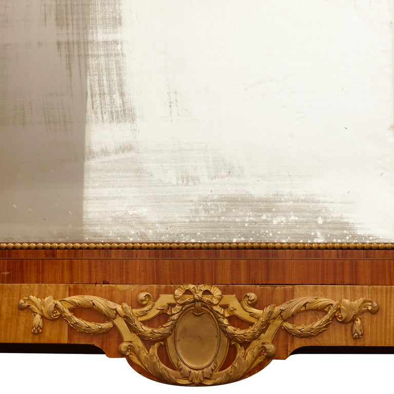 19th Century Large Parisian Wardrobe Adorned with Marquetry and Gilt Bronze For Sale