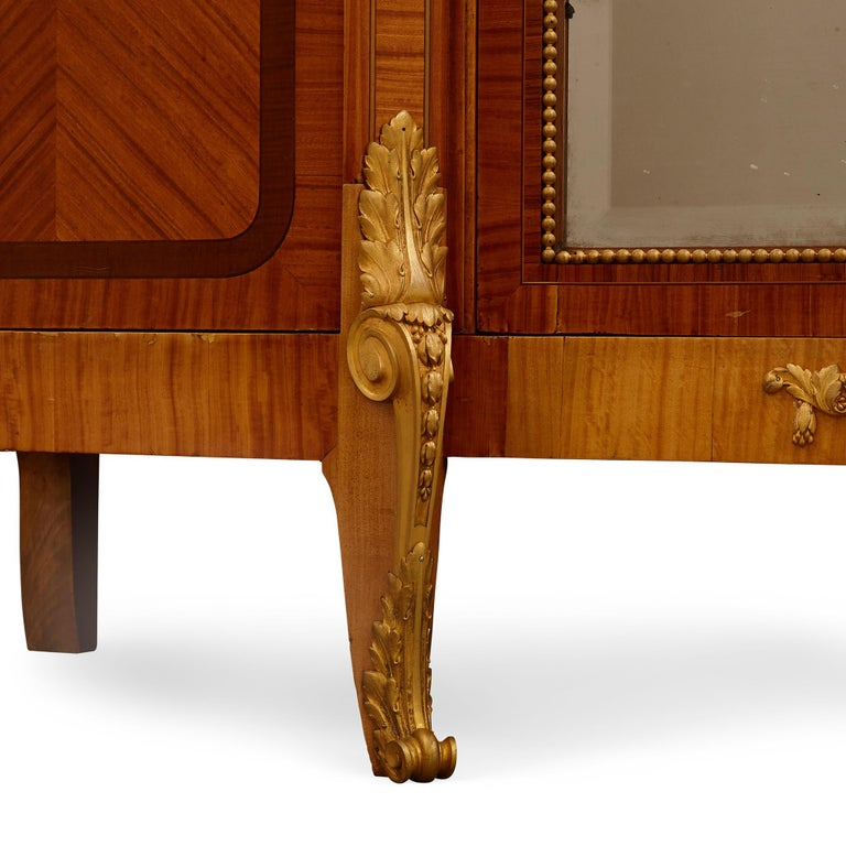 Mirror Large Parisian Wardrobe Adorned with Marquetry and Gilt Bronze For Sale