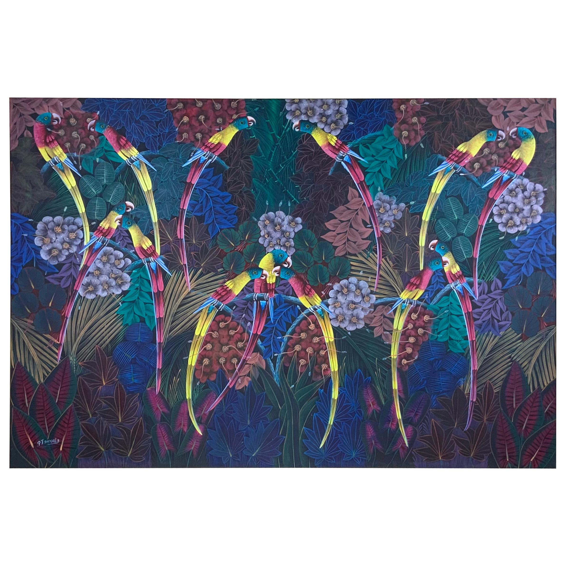 Large Parrots in the Jungle, Haitian Acrylic Painting on Canvas