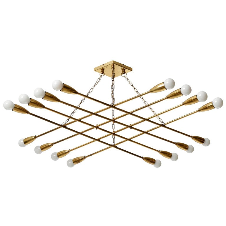 Austrian Large Patinated Brass Pendant Light Chandelier by Rupert Nikoll, 1960s For Sale